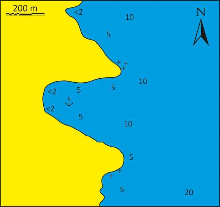 mapka zatoki Kentarchos na Serifos