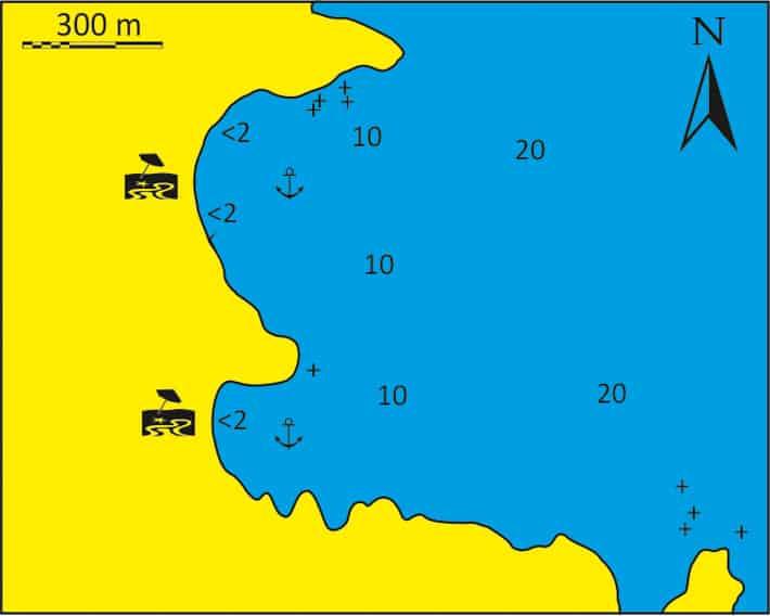 Mapka zatoki Psili Ammos
