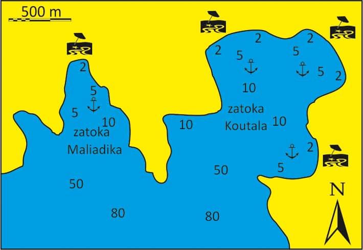 Mapka zatoki Koutala i Malidika