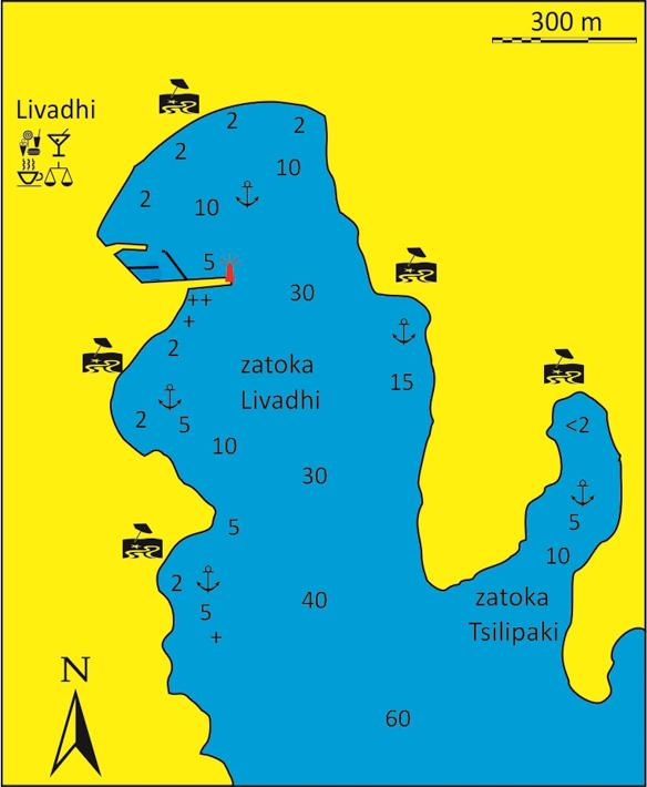 mapka Zatoki Livadi i Tsilipaki