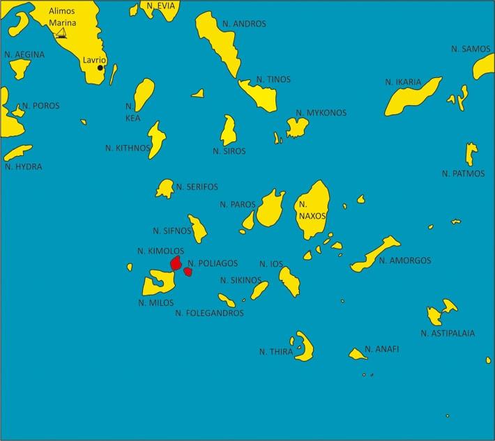 mapka Cyklad z zaznaczoną wyspą Kimolos
