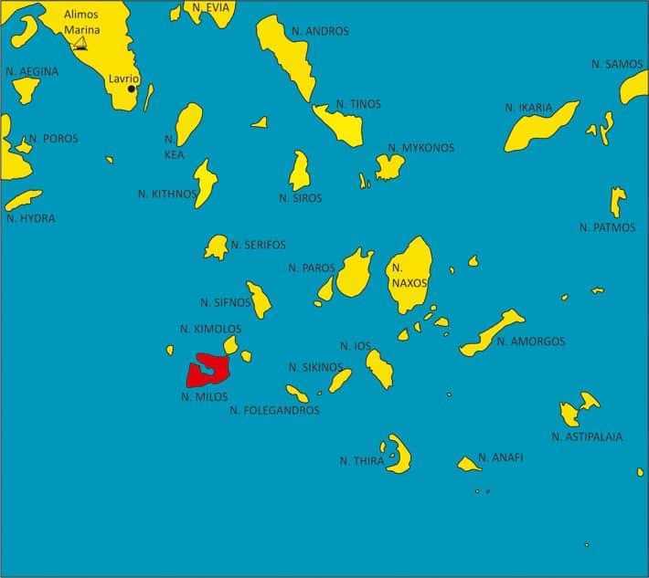 mapka cyklady Grecja wyspa Milos