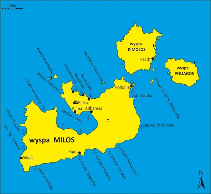 Wyspa Milos mapka