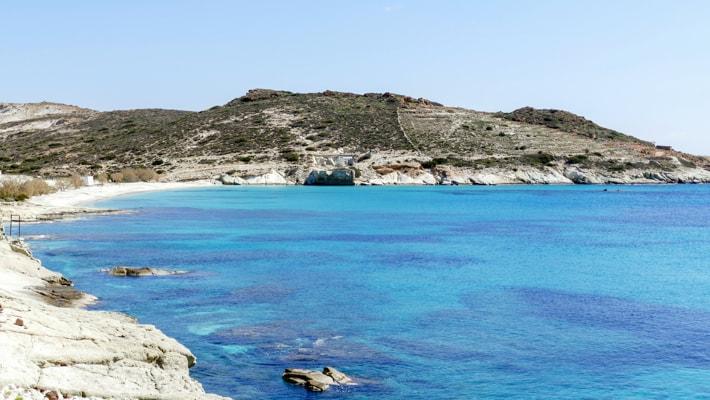 Zatoka Prasonisi na wyspie Kimolos