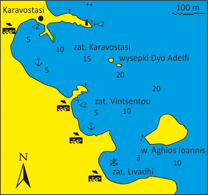 mapka zatoki Karavostasi, Vintsentou i Livadi