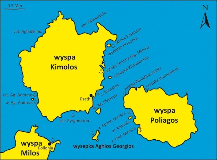 mapka wyspy Kimolos i Poliagos