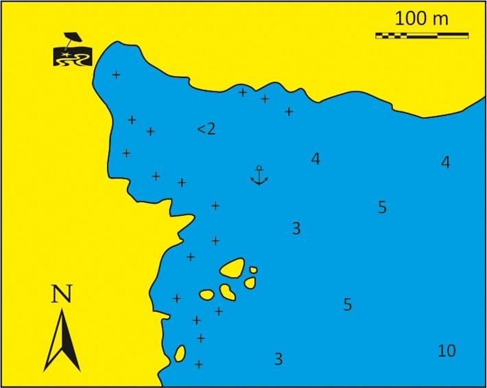 Mapka zatoki Aghios Nikolaos na wyspie Sikinos