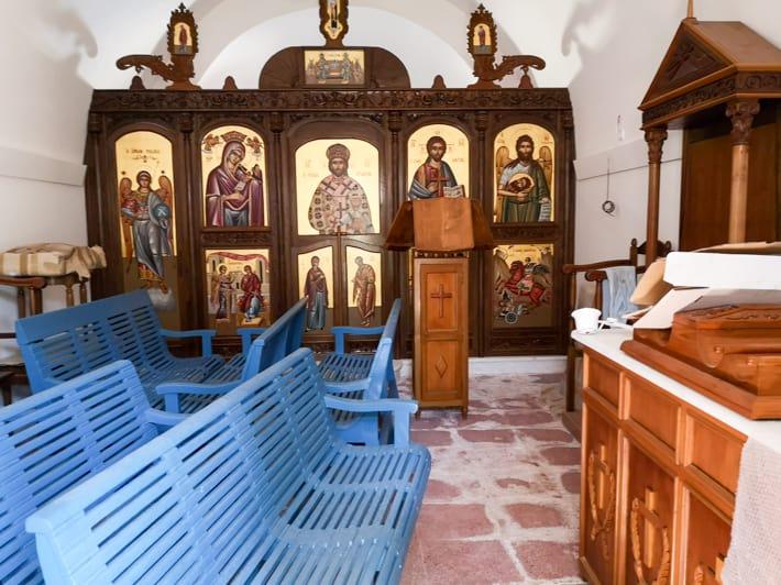 wnętrze kościoła na wyspie Aghios Georgios