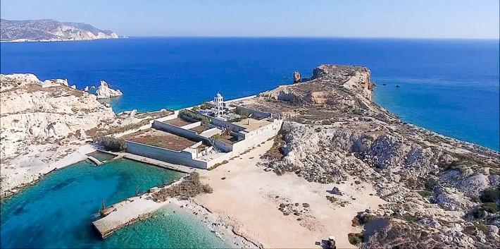 Wyspa Aghios Georgios i klasztor z powietrza.