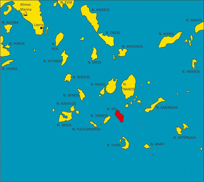mapa cyklad z zaznaczoną wyspą Ios