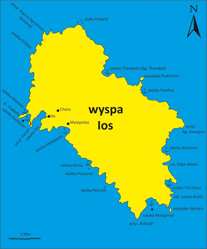 mapa wyspy Ios