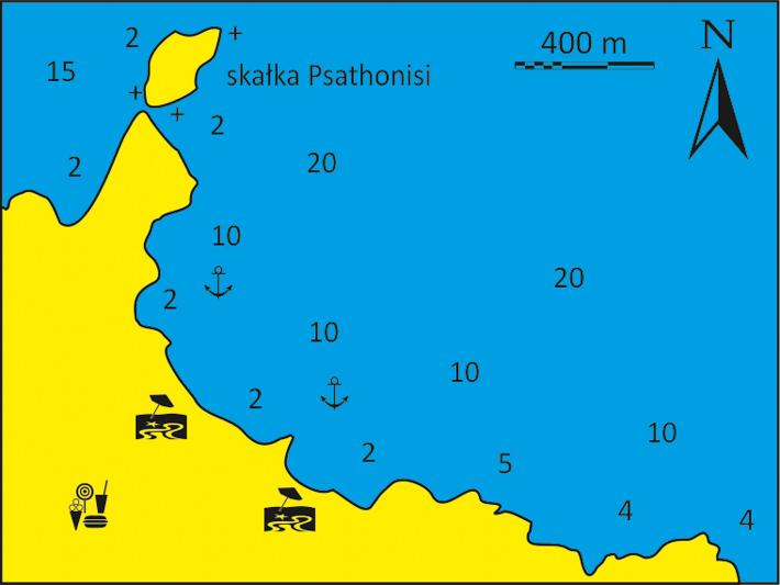 mapka Zatoki Psathas na Ios
