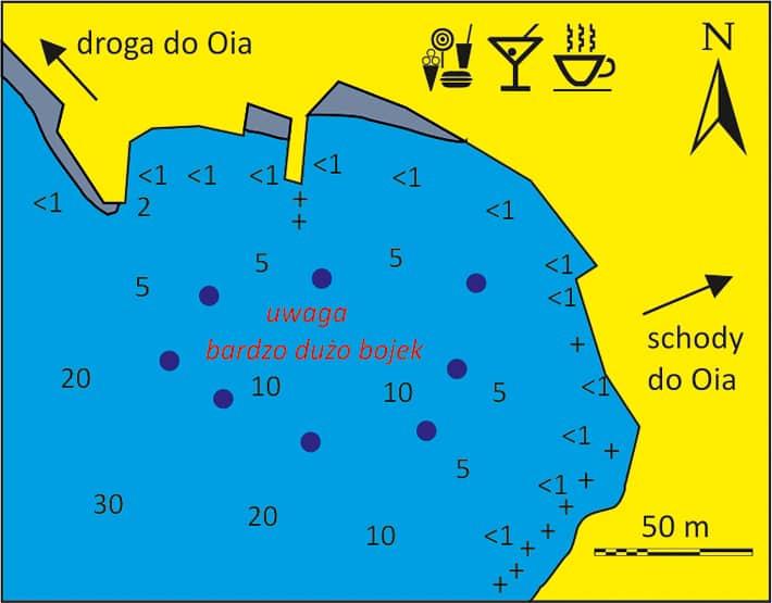 mapka portu Ammoudiou na Santorini