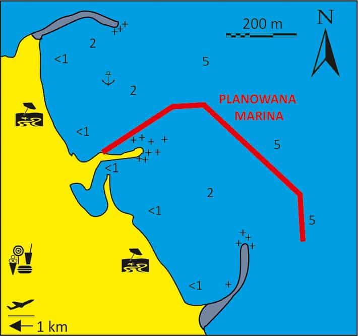 Mapka portu Monolitos na Santorini
