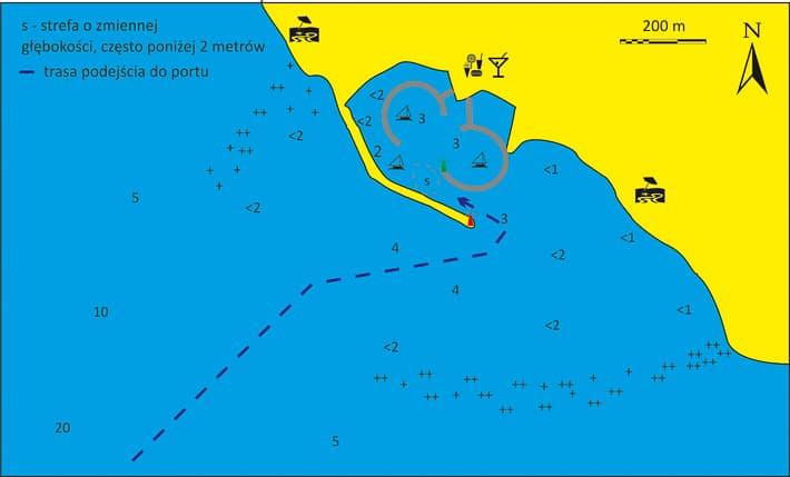 Mapka podejścia do portu Vlichada