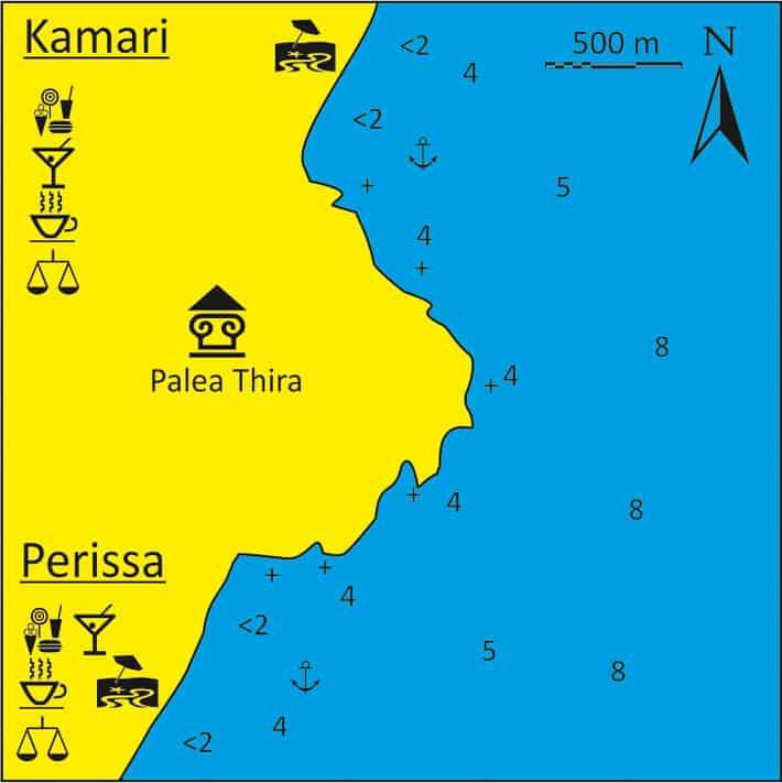 Mapka zatoki Perissa i Kamari